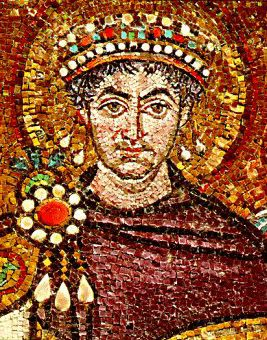 This is a mosaic portrait of Justinian.  It was constructed around 550 AD. I found this at http://www.medievalists.net/2012/05/05/justinians-reconquest-of-the-west-ideology-warfare-religion-and-politics-in-sixth-century-byzantium/