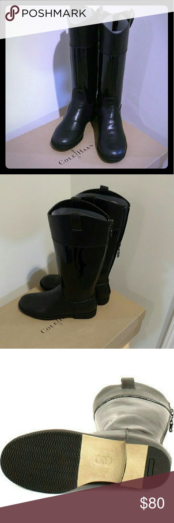 Cole Haan Girls Junior Nancy Tall Fall Riding Boot BRAND NEW  Black, leather and patent leather accent tall Fashion Riding Boots Cole Haan Shoes Boots