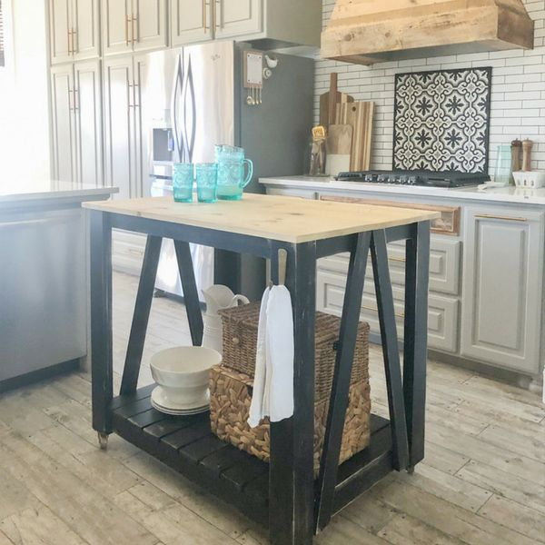 Ryobi Nation Diy Farmhouse Kitchen Island Cart In 2020 Farmhouse Kitchen Island Outdoor Dining Furniture Dining Furniture