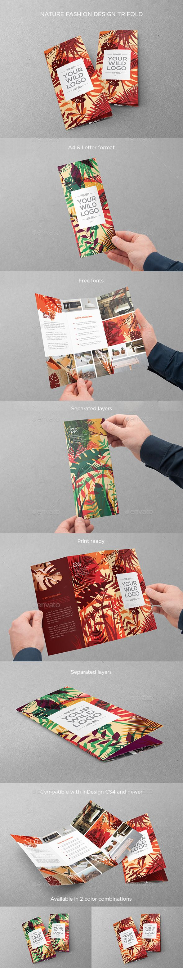 Nature Fashion Design Trifold Template #design Download: http://graphicriver.net/item/nature-fashion-design-trifold/12661446?ref=ksioks