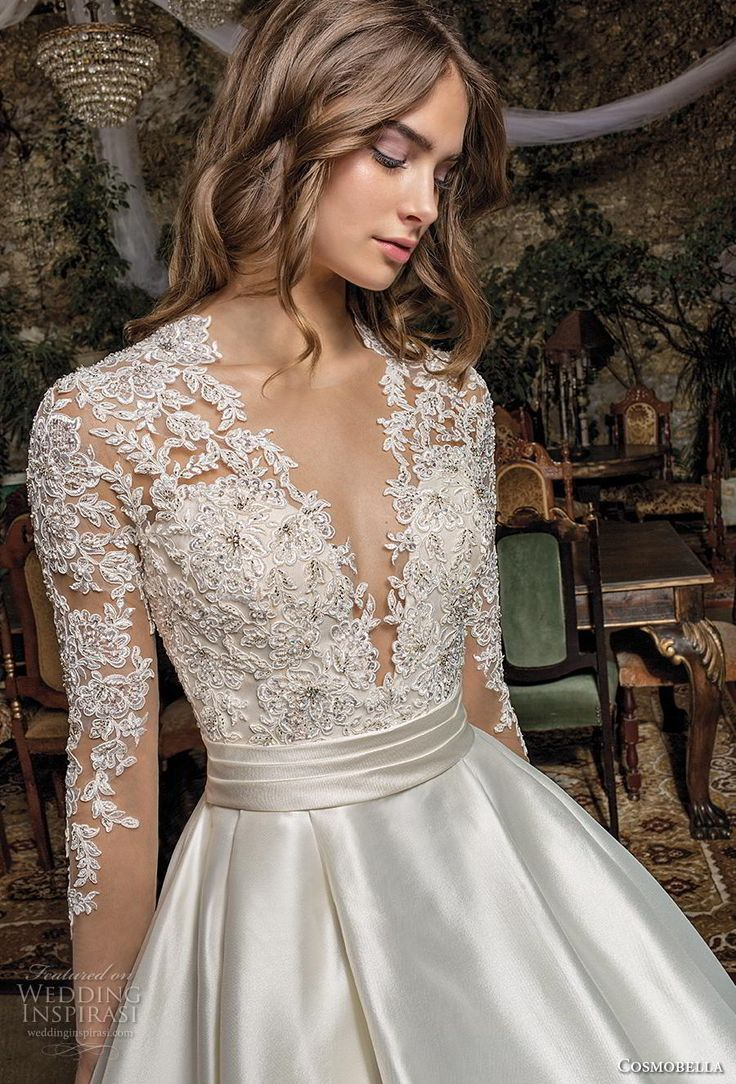 cosmobella 2019 bridal long sleeves deep v neck heavily embellished bodice satin…