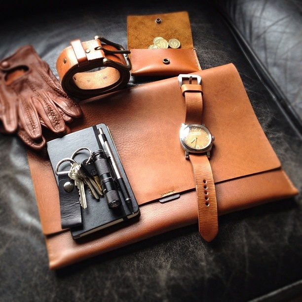 Bas and Lokes leather iPad case, front pocket wallet, aged vegetable tanned leather belt and vintage Panerai 6154 watch. www.BasAndLokes.com