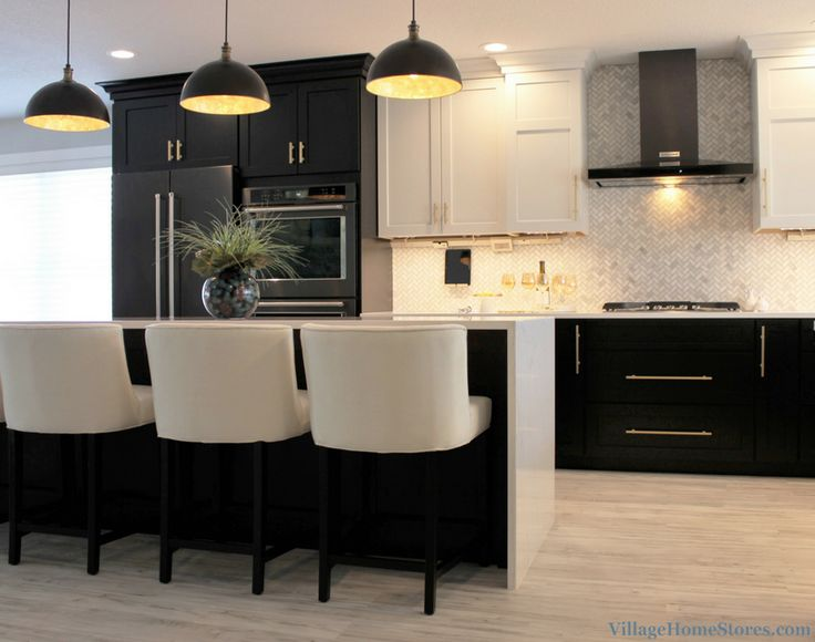 Black base cabinets and White upper cabinets paired with ...