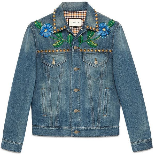 Gucci Painted Denim Jacket With Embroidery ($2,555) ❤ liked on Polyvore featuring men's fashion, men's clothing, men's outerwear, men's jackets, denim, men, outerwear, ready to wear, mens floral jacket and mens outerwear