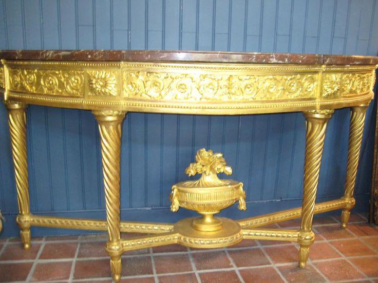 Grande Table Console En Demi-lune, XVIIIe Siècle