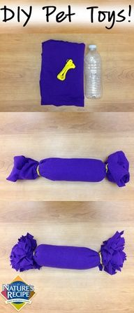 Your pet will get a kick playing with this water bottle crinkle toy! #DIY #craft…