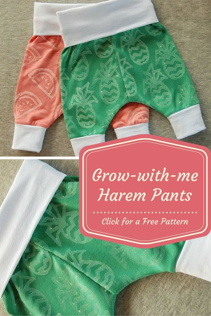 RE-PIN and then CLICK HERE for the FREE PATTERN and tutorial http://sew4bub.com/2015/10/19/grow-with-me-baby-harem-pants-free-pattern-and-tutorial/