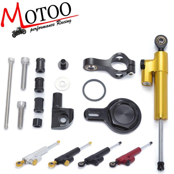 Motoo - Motorcycle Full set CNC Steering Damper Stabilizerlinear Linear Stabilizer Bracket kit  For YAMAHA R1 1998-2005