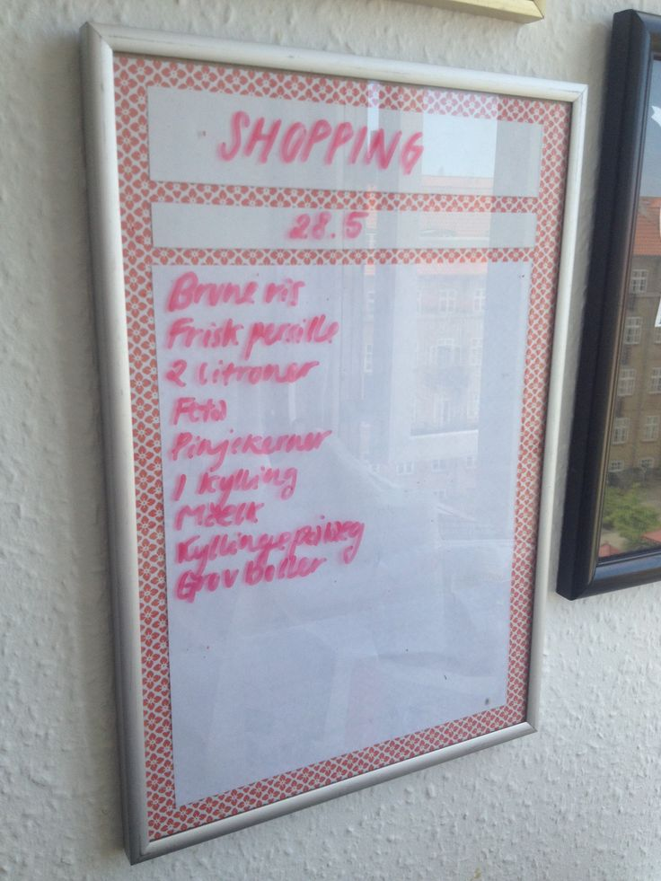 Picture frame with glass and a whiteboard marker, and you have this convenient grocery list - just snap a shot of it with your phone before leaving and clean it up for next time. Easy AND eco-friendly.