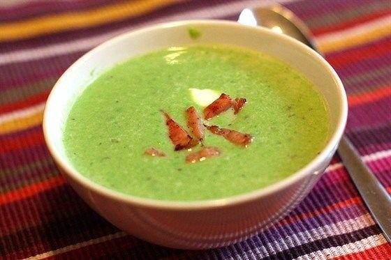 Крем-суп из мятного гороха с ветчиной