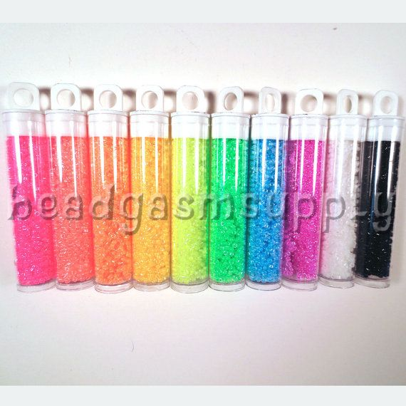 Luminous Neon Miyuki Delica Bead Lot 75 grams by BeadgasmSupply