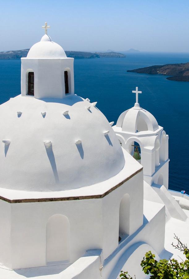 Santorini Caldera Domes in Fira , Greece