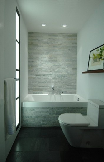 White Brick Wall and Modern Bath Tubs with Dark Floor in Small Bathroom Tiles Decorating Design Ideas