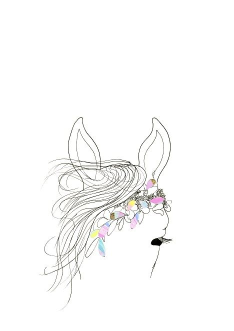 Petal the Horse — Illustration and collage art print by Bek Halliday