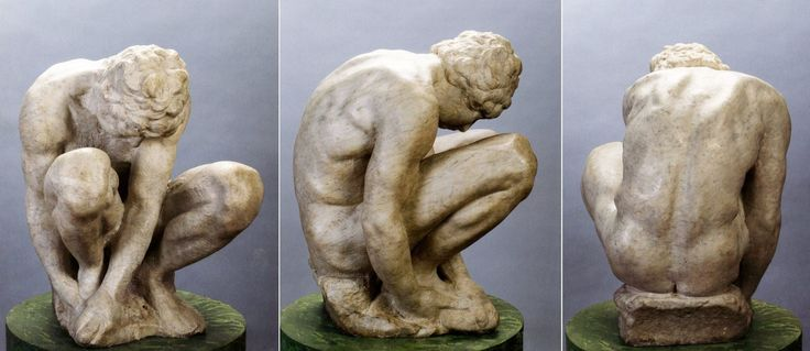 "The only sculpture by Michelangelo in Russia is marble 'Crouching Boy' in the Hermitage collection ☆ Единственная скульптура Микеланджело в Росии - мраморный ""Скорчившийся мальчик"" из коллекции Эрмитажа; The State Hermitage museum, St Petersburg"