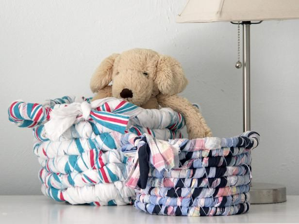 How To Make a Basket Out Of Baby Blankets or Fabric Scraps:  From DIYNetwork.com from DIYnetwork.com