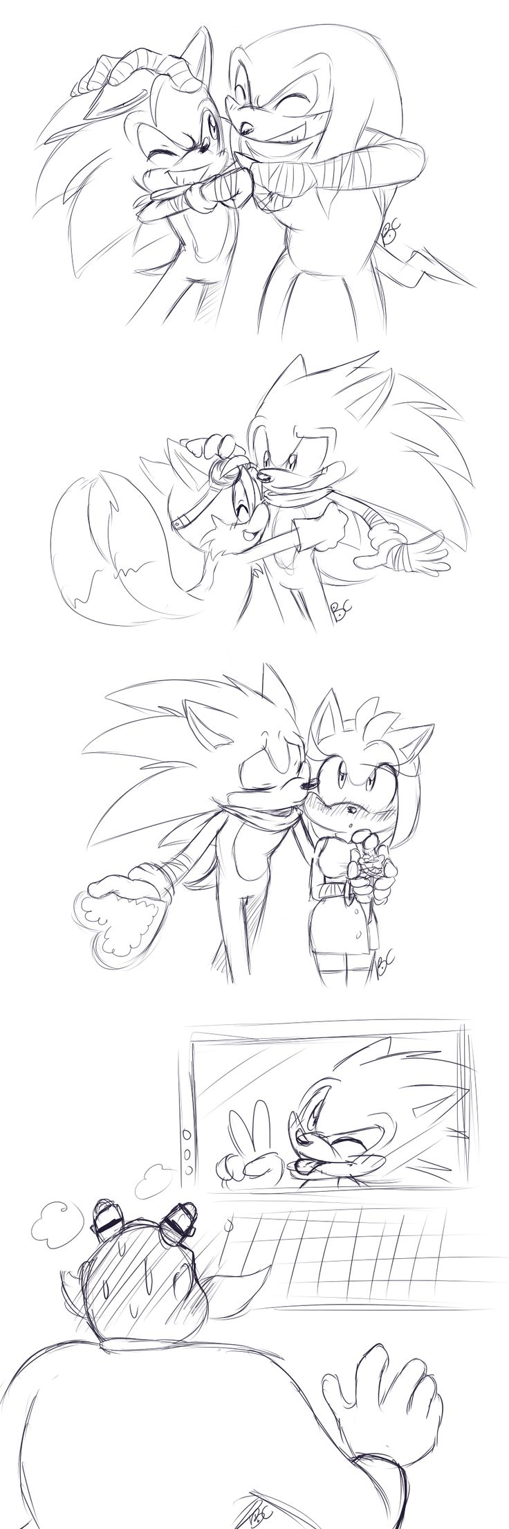"""Sonic from """"Sonic Boom"""" spreading Valentine cheer to everyone. Awwwwwww, on Sonic and Amy, and LOL on Sonic and Eggman!"""