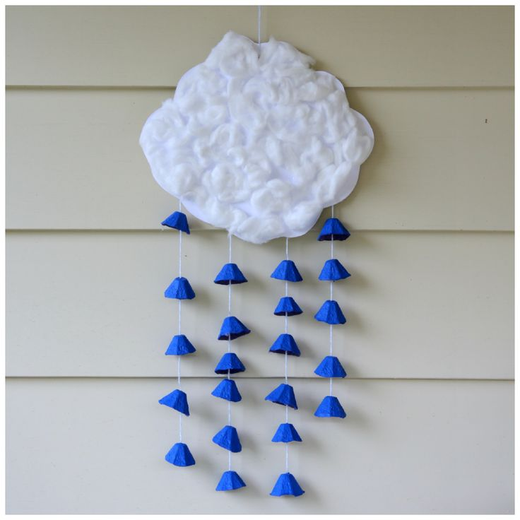 Earth Day Raincloud Mobile - made of recycled materials