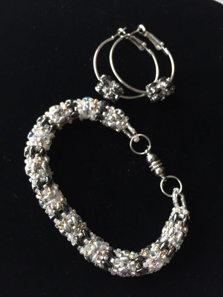 Set - bracelet with hoop earrings by FunkyandfunByJaime on Etsy