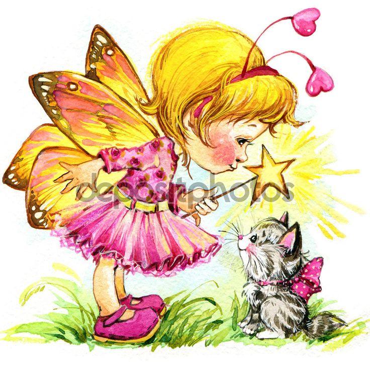 Скачать - Детский день святого Валентина. волшебный фон. акварельный рисунок — стоковое изображение #61036929