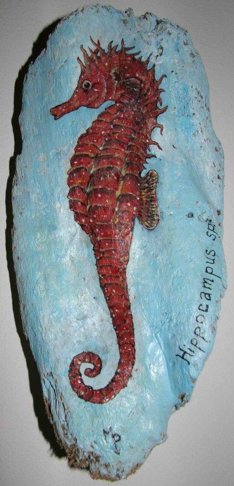 Hippocampe et pleins d'autres animaux marins peints sur du bois flotté