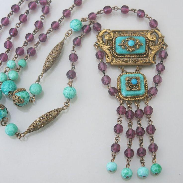 Vtg Art Deco Czech Peking Amethyst Glass Sautoir Dangle Pendant Necklace