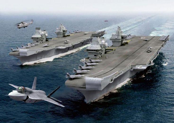Disposant historiquement de la première puissance navale d'Europe, le Royaume-Uni a fait les frais de coupes budgétaires répétées qui ont réduit significativement sa flotte depuis 15 ans. Ombre de ce qu'elle était autrefois, la Royal Navy, qui pointe désormais au quatrième rang mondial en tonnage (407.000 tonnes) derrière ses homologues américaine, russe et chinoise, a désarmé en 2014 le dernier de ses trois porte-aéronefs du type Invicible, le HMS Illustrious.