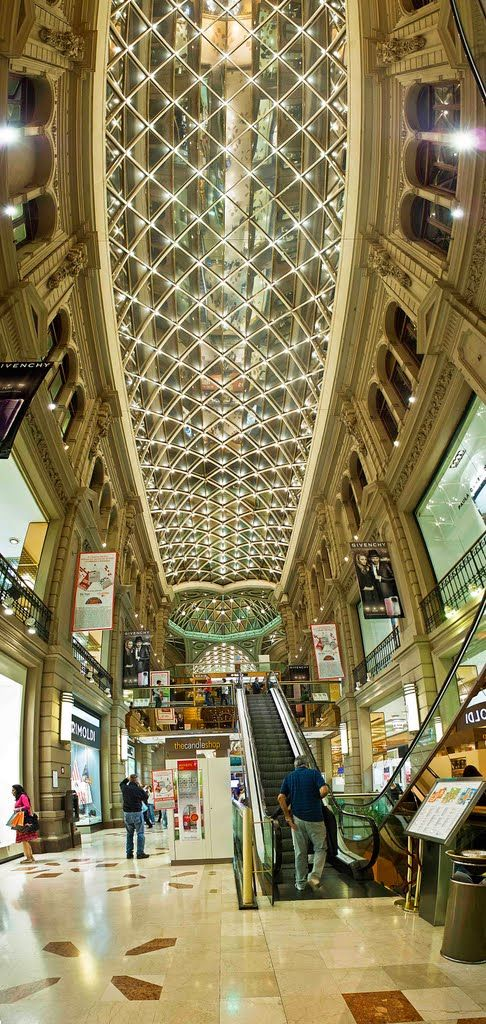 Splendor in the shopping mall in Buenos Aires, Argentina. Galerías Pacífico is one of the most successful shopping malls in Argentina. It was declared a National Historic Monument due to the undeniable artistic value of its architecture and its striking murals. (V)