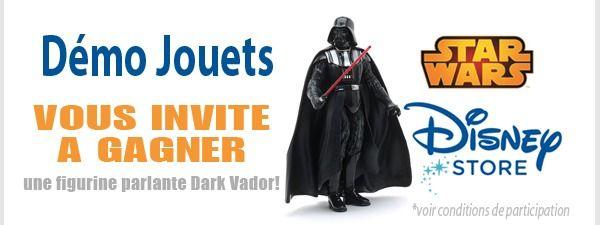 Vous aussi participez au jeu concours « Dark Vador Figurine parlante Star Wars de Disney Store » sur Démo Jouets !  Le compte à rebours est lancé !!!