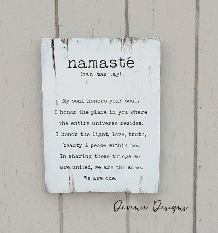 Namaste definition - Reclaimed Wood Sign - white and black