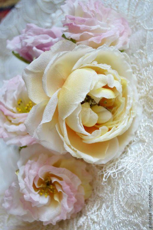 Купить Цветы из шелка.Роза Нежная Весна - лимонный, роза из ткани, роза ручной работы