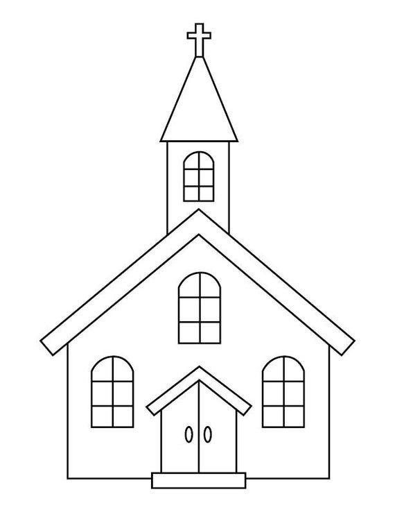 Church Coloring Page Etsy Church Images, Kids Church, Church