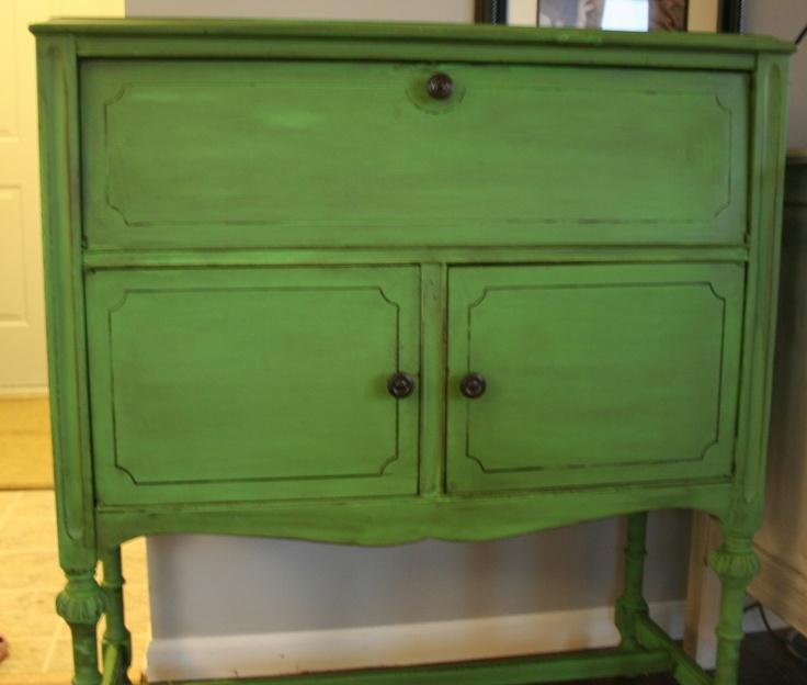 Annie Sloan Chalk Paint Antibes Green with Dark Walnut stain and wax.