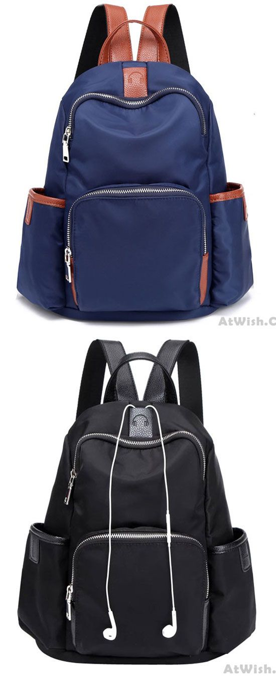 Simple Girl's Waterproof Oxford Splicing PU Headphones Hole Travel Backpack School Backpack for big sale! #Backpack #bag #college #school #student