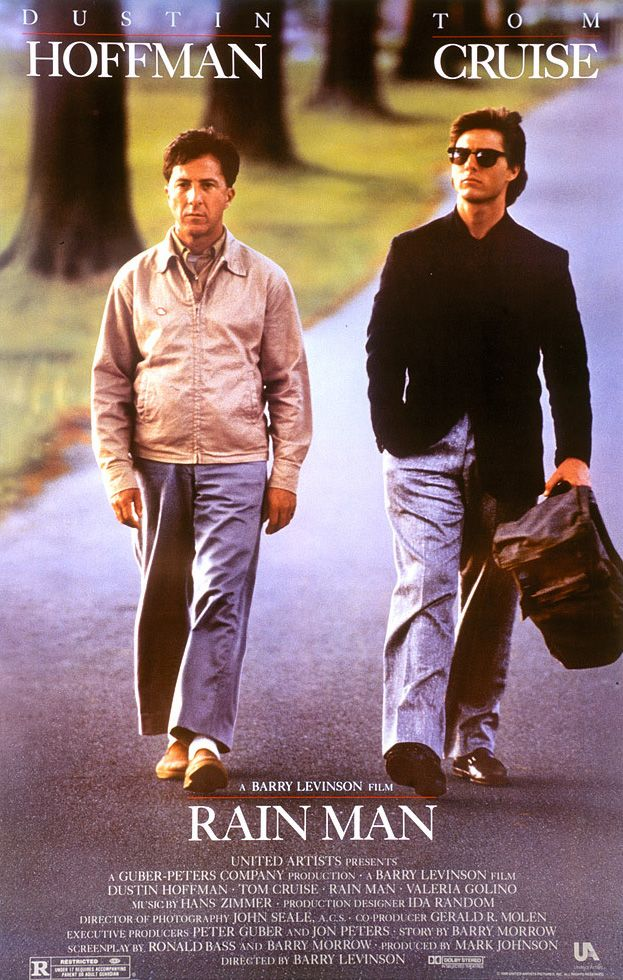 Directed by Barry Levinson.  With Dustin Hoffman, Tom Cruise, Valeria Golino, Gerald R. Molen. Selfish yuppie Charlie Babbitt's father left a fortune to his savant brother Raymond and a pittance to Charlie; they travel cross-country.