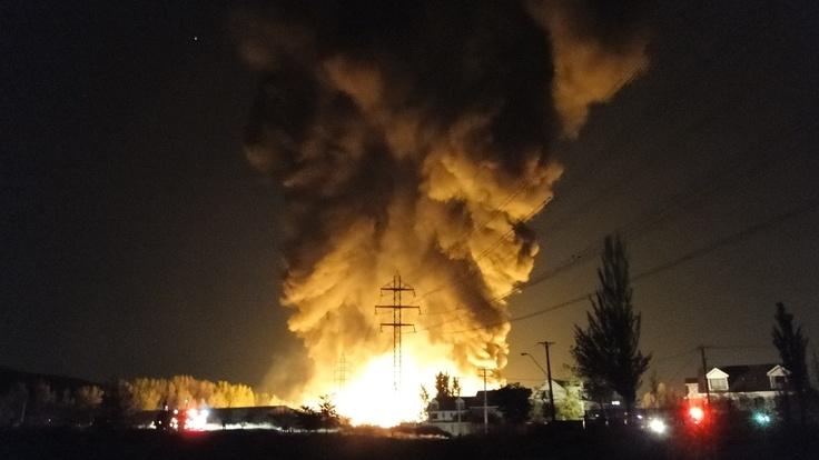 El incendio en la fábrica de plásticos Wenco.