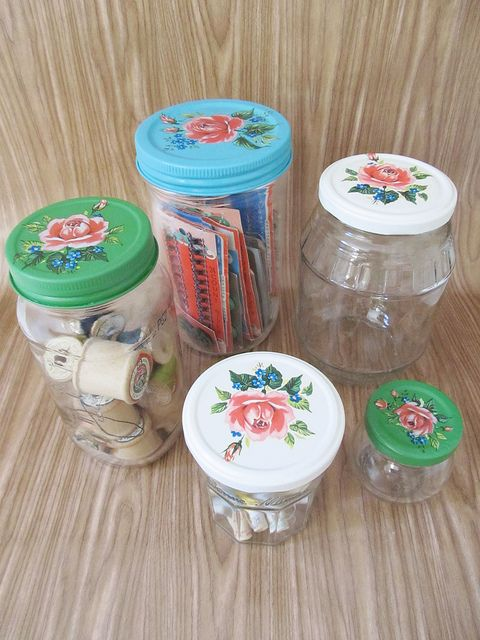 jars! flowers. roses. pretty storage for small items. crafts. sewing. jewelry. ...   painted decoupage lids