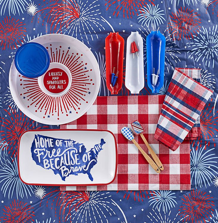 Deck out your Fourth of July party with serving platters and linens in classic red, white and blue. Featured festive product includes serveware from Celebrate Americana Together, Farberware corn-on-the-cob dishes and holders, and Food Network Stars & Stripes mini spatula set. Get set for Independence Day entertaining and more at Kohl's.