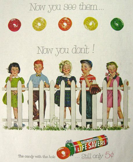 1954 Lifesavers Candy Ad ~ Now You See Them (still in the same packet! )