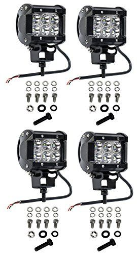 Cutequeen 4 X 18w 1800 Lumens Cree LED Spot Light for Off-road SUV Boat 4x4 Jeep Lamp Tractor Marine Off-road Lighting Rv Atv(pack of 4) - 1) LED power:18W 2) Input voltage:10-30V DC 3) Lumen:1800 lm 4) Flood beam:30 degree 5) Color temperature:6000K-6500K 6) Certificates:CE, RoHS 7) Lens material:PMMA 8)Waterproof rate:IP67 9) Casing material:Aluminium alloy;Mounting Bracket: Stainless steel 10) Package weight:0.85KG 11) Applicatio...