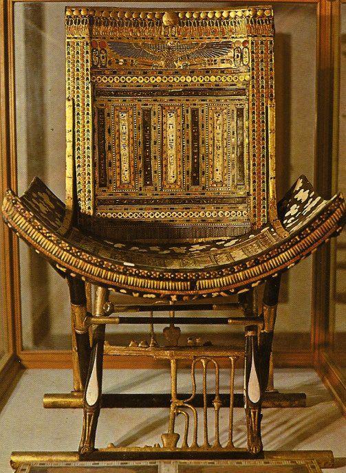 Ce trône servait pour les cérémonies religieuses  (trésor de la tombe de Toutankhamon)
