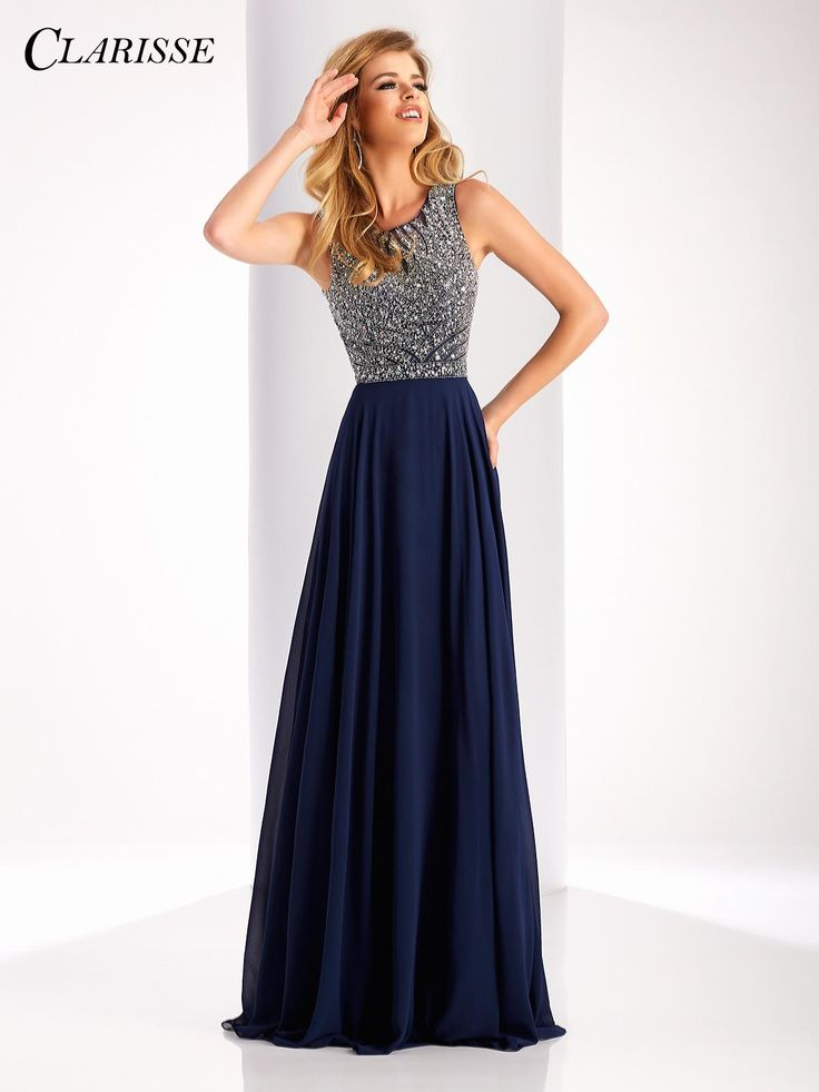 Clarisse Sparkly Flowy Prom Dress Style 3167. Twirl the night away in this flowy chiffon prom dress with a gorgeous crystal embellished bodice and open back! Find yours before it's gone at your Clarisse retailer! Click through to learn more! COLOR: Marsala , Navy , Lilac SIZE: 0-16