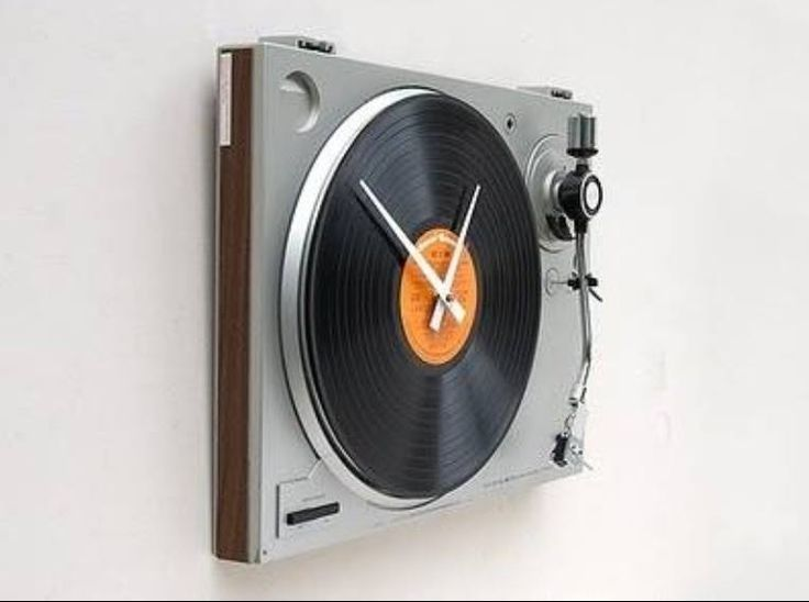Upcycled vintage turntable clock