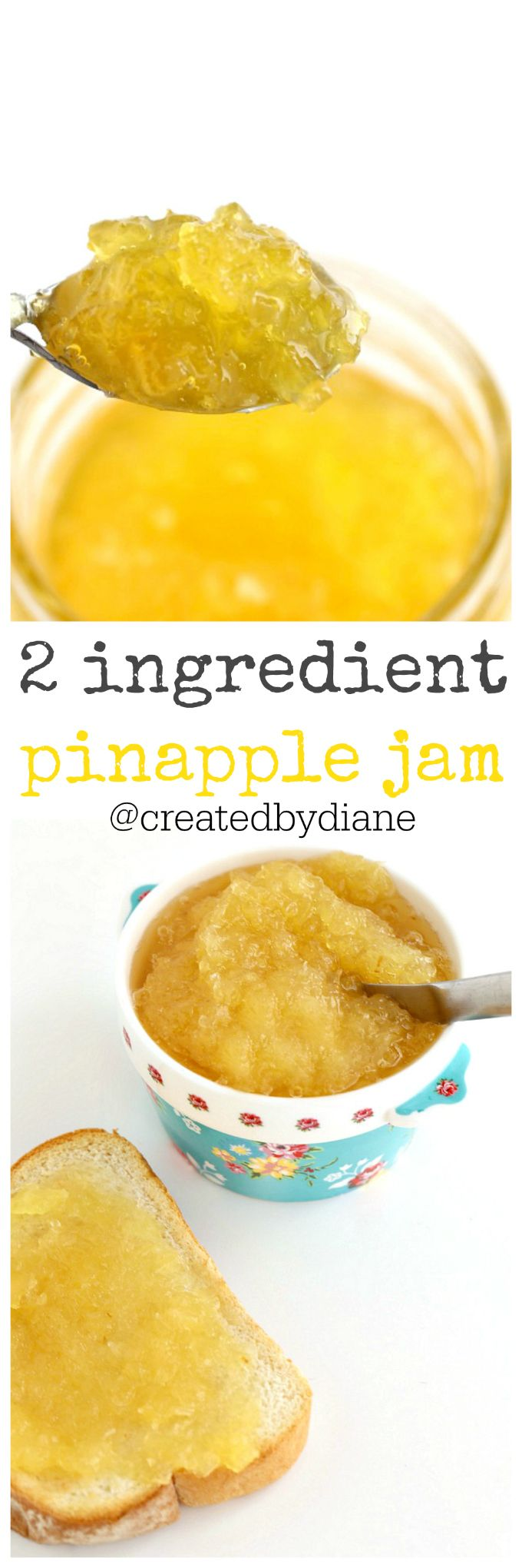 This pineapple jam recipe is so easy, it sets up in the refrigerator so there is no boiling jars and waiting. You can enjoy it as soon as it's chilled.    Spring is upon us and the sweet flavors of fruit are in full swing in my kitchen. I love fruity flavors and pineapple is no exception. I've made this recipe a few times now and each jar just seems to disappear! I really love it on a piece of buttered toast, but the possibilities are endless.   If you LOVE Pineapple, You'll love...