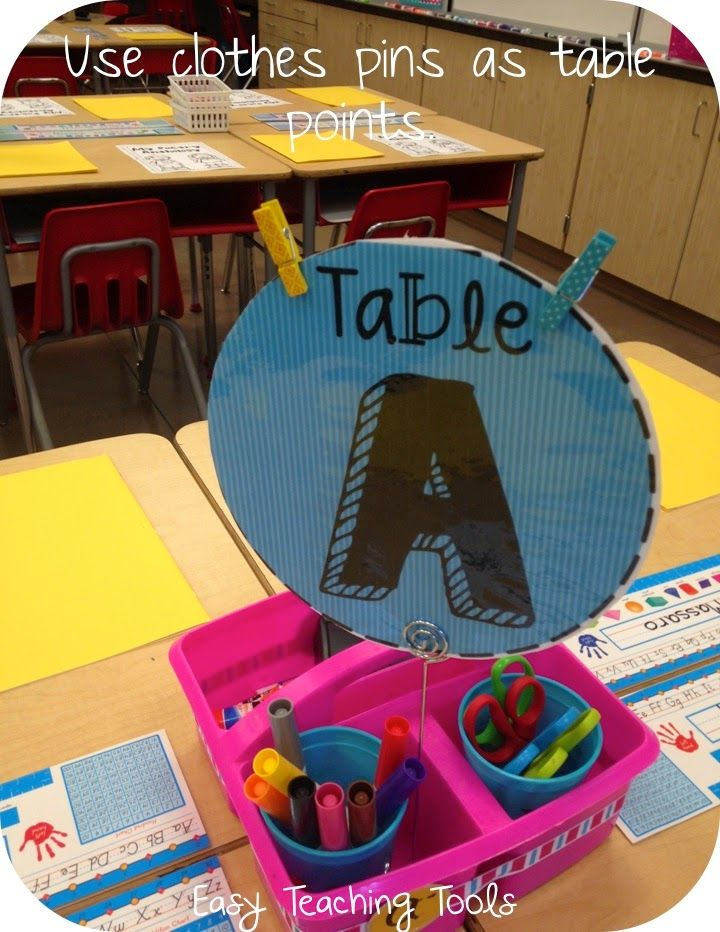 Use table signs and then add clothes pegs to award table points. Remove pegs if needed due to behavior