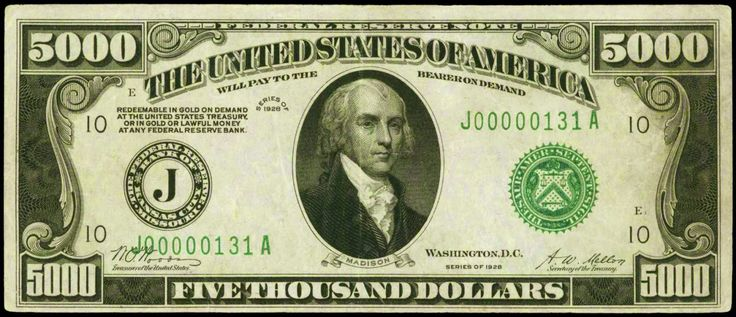 United States 1928 5000 Dollar Bill 5000 Dollar Bill