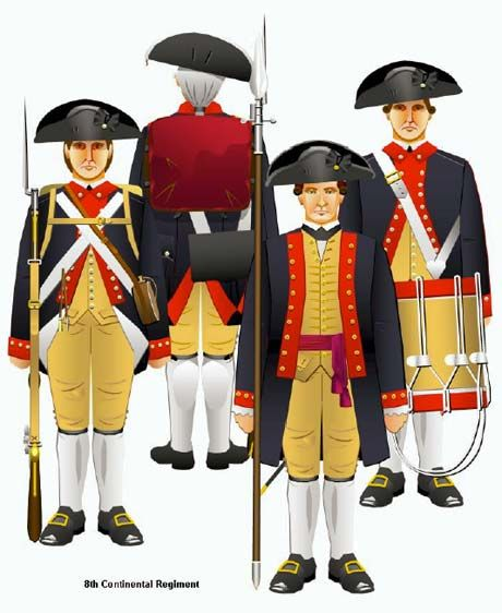 The US 8th Continental Regiment - fought in the siege of Boston, Lake Champlain, Trenton, Princeton, Saratoga, Monmouth  and Yorktown