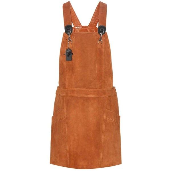 Coach Suede Pinafore Dress ($440) ❤ liked on Polyvore featuring dresses, brown, pinafore dress, suede leather dress, pinny dress, brown dress and coach dresses