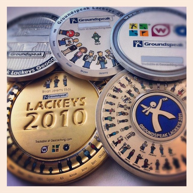 A collection of all Lackey geocoins minted to date (2005, 2007, 2009, 2010 and 2011).  Featuring the pixel icons of the employees of Groundspeak, the company that runs http://www.geocaching.com/ #geocoin