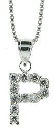 Sterling Silver Cubic Zirconia Initial Letter P Alphabet Pendant, 1/2 inch long Sabrina Silver. $29.95